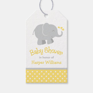 Baby Shower Favor Tags | Elephant Yellow Gray Pack Of Gift Tags