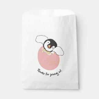 Baby Shower Favour Bag, Pink, Baby Penguin Favour Bag