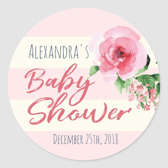 Baby Shower Favour Sticker Floral