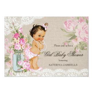 Baby shower floral de dentelle chic assez minable carton d'invitation  12,7 cm x 17,78 cm