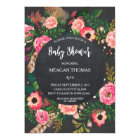 Baby shower floral modern chalkboard feather card