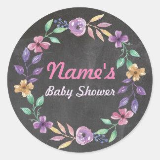 Baby Shower Flower Wreath Pink Purple Girl Sticker