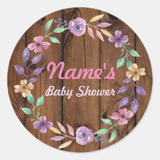 Baby Shower Flower Wreath Pink Wood Girl Sticker