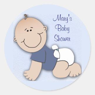Baby shower for boy round sticker