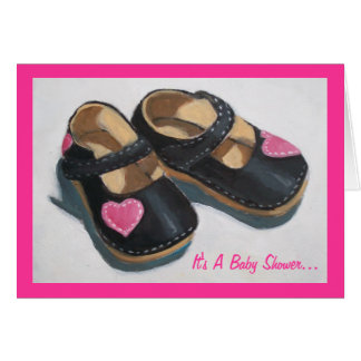 Baby Shower For Girl: Art: Shoes with Hearts Cards
