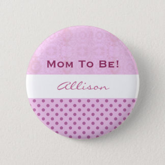 Baby Shower for Girl Pink Polka Dots 2 Inch Round Button