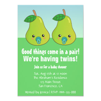 Baby Shower for Twins - Cute pears with pacifiers Card