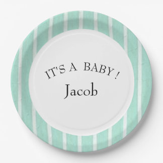 "BABY-SHOWER-""Fun Prints""  Aqua/TEMPLATE- 9 Inch Paper Plate"