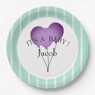 "BABY-SHOWER-""Fun Prints""  Aqua/TEMPLATE-STYLISH 9 Inch Paper Plate"