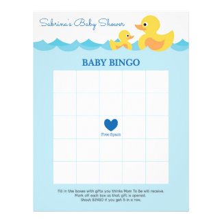 Baby Shower Game in Cute Rubber Duck Theme Custom Flyer