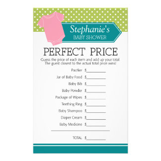 Baby Shower Game Perfect Price - Pastel Pink Tee Flyer