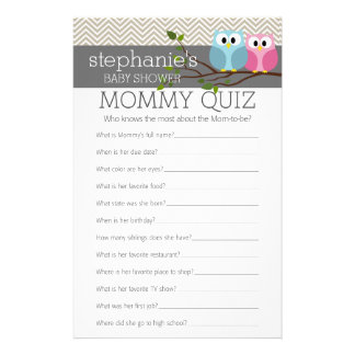 Baby Shower Game - Who Knows Mommy Best Quiz Personalized Stationery