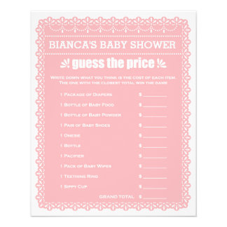 Baby Shower Games in Pink Papel Picado Flyer
