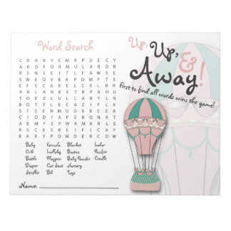 Baby Shower Games, Word Search, Hot air Balloon Notepad