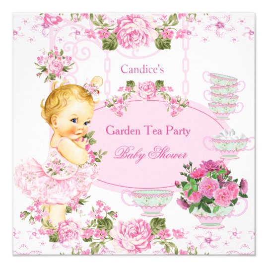 Baby Shower Garden Tea Party Lace Pink Blonde Card