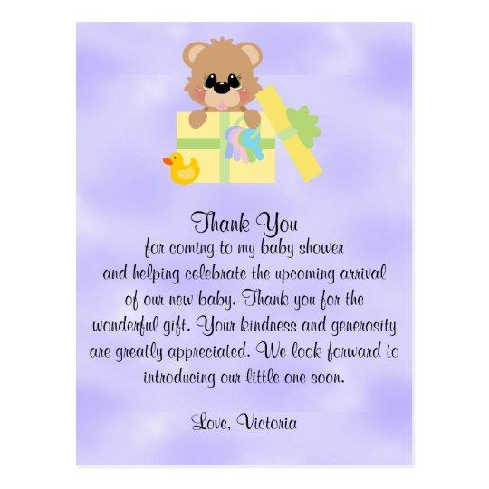 Baby Shower Gender Neutral Teddy Bear Postcard