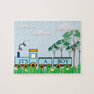 Baby Shower gift - puzlle - boys little train Jigsaw Puzzle