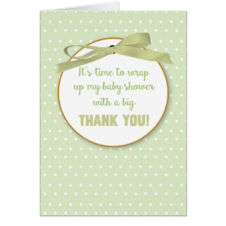 Baby Shower Gift Thank You Green Digital Ribbon Card
