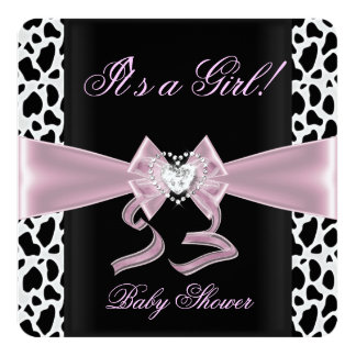 """Baby Shower Girl Baby Pink Black White Cow Print 2 5.25"""" Square Invitation Card"""