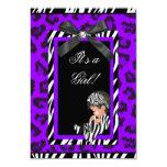 Baby Shower Girl Baby Purple Black Zebra Personalized Announcement