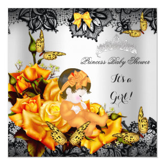 Baby Shower Girl Butterfly Yellow Gray Black lace Card
