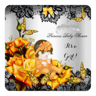 "Baby Shower Girl Butterfly Yellow Gray Black lace 5.25"" Square Invitation Card"
