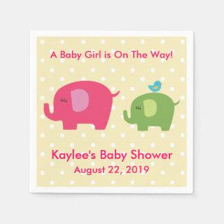 Baby Shower Girl Elephant Polka Dot Napkins