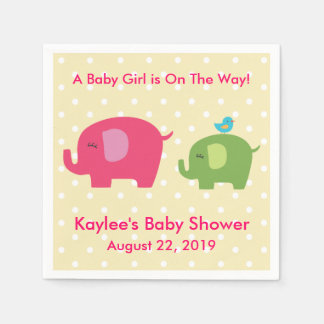 Baby Shower Girl Elephant Polka Dot Napkins Paper Napkins