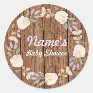 Baby Shower Girl Flower Wreath Pink Wood Sticker