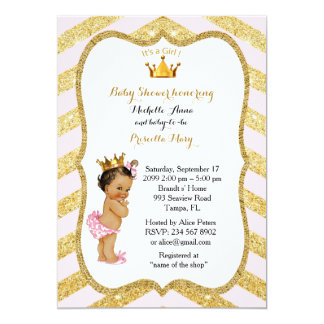 Baby Shower GIRL,golden chevron,white & gold v2 Card