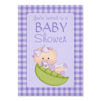 "Baby Shower Girl in a Pod Purple 5"" X 7"" Invitation Card"