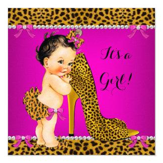 Baby Shower Girl Leopard High Heel Pink Brunette Card