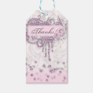 Baby Shower Girl Marble Pink Glitter Thank You Pack Of Gift Tags