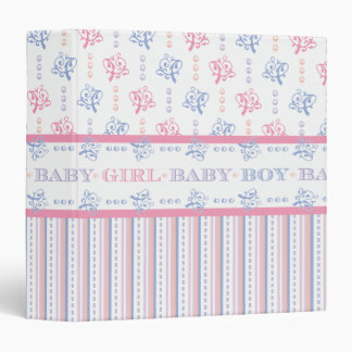 Baby Shower Girl or Boy Pretty Pink and Blue Binders