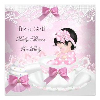 "Baby Shower Girl Pink Baby Teacup Cupcake 5.25"" Square Invitation Card"