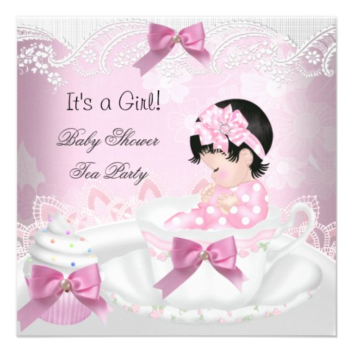 Baby Shower Girl Pink Baby Teacup Cupcake Personalized Invites