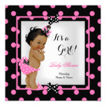 "Baby Shower Girl Pink Black Polka Dots Ethnic 5.25"" Square Invitation Card"