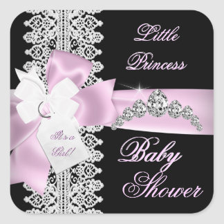 Baby Shower Girl Pink Black White Lace Square Sticker