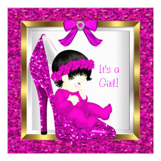 Baby Shower Girl Pink Glitter Baby in Shoe 3 Invitations