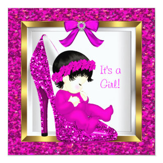 Baby Shower Girl Pink Glitter Baby in Shoe 3 5.25x5.25 Square Paper Invitation Card