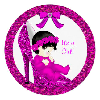 Baby Shower Girl Pink Glitter Baby in Shoe 3R Personalized Announcements