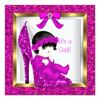 Baby Shower Girl Pink Glitter Baby in Shoe 5.25x5.25 Square Paper Invitation Card