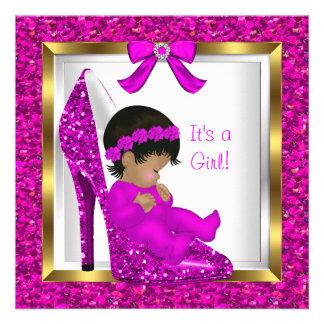 Baby Shower Girl Pink Glitter Baby in Shoe Custom Invitations