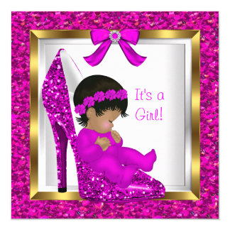 "Baby Shower Girl Pink Glitter Baby in Shoe 5.25"" Square Invitation Card"