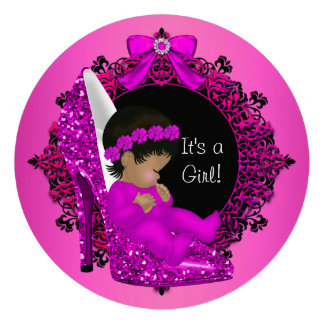 Baby Shower Girl Pink Glitter Baby in Shoe R2 Personalized Invite
