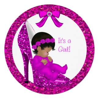 Baby Shower Girl Pink Glitter Baby in Shoe R Custom Announcements