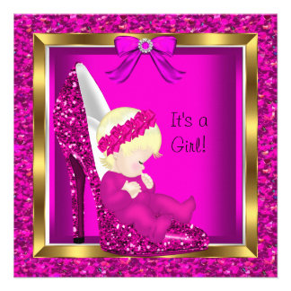 Baby Shower Girl Pink Glitter Blonde Baby in Shoe Personalized Invite