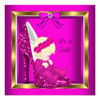 Baby Shower Girl Pink Glitter Cute Baby in Shoe Invites