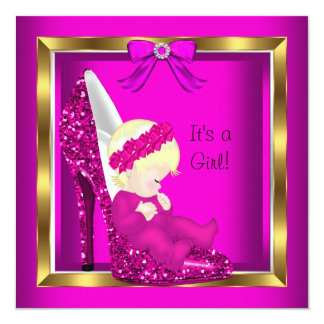 Baby Shower Girl Pink Glitter Cute Baby in Shoe 5.25x5.25 Square Paper Invitation Card