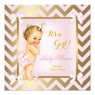 Baby Shower Girl Pink Gold Chevron Blonde Card